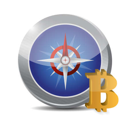 currency symbol: Bitcoin currency symbol and compass illustration design isolated graphic