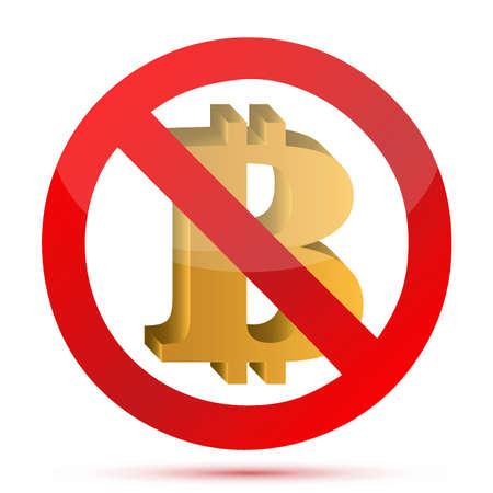 Niet om Bitcoin valuta symbool concept illustratie ontwerp geïsoleerd grafisch Stock Illustratie