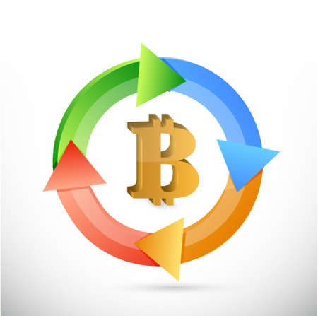 cash cycle: bitcoin cycle sign concept illustration design isolated graphic