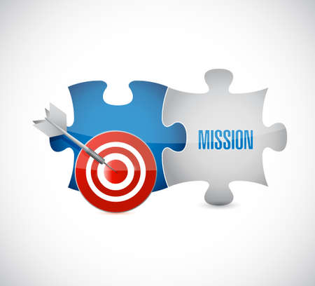 accomplish: puzzle target and mission concept illustration design graphic isolated over white