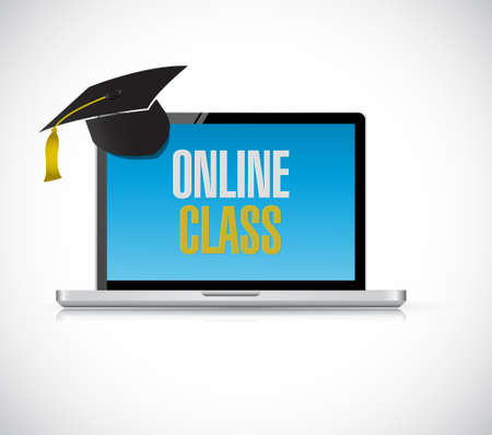 handheld device: computer online class concept illustration design graphic isolated over white