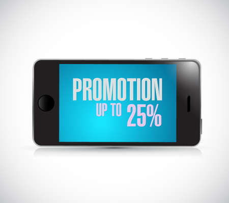smartphone promotion up to 25 percentage concept illustration design graphic isolated over white