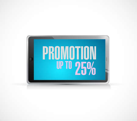 handheld device: tablet promotion up to 25 percentage concept illustration design graphic isolated over white