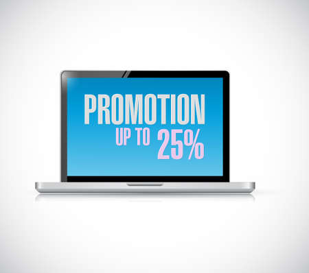 handheld device: laptop computer promotion up to 25 percentage concept illustration design graphic isolated over white Illustration