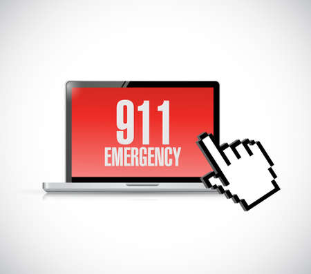 one people: 911. nine one one warning message on computer. illustration design Illustration
