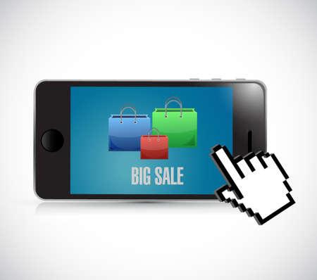 Phone Big sale shopping bags icon concept illustration design over white Illustration