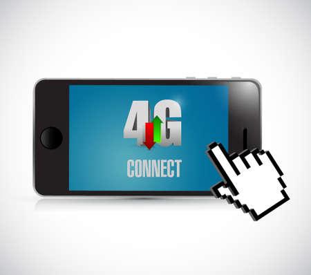Connessione 4g su un telefono e disegno di illustrazione del cursore su bianco Archivio Fotografico - 70726206