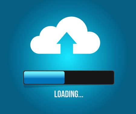 uploading cloud computing content. illustration design graphic