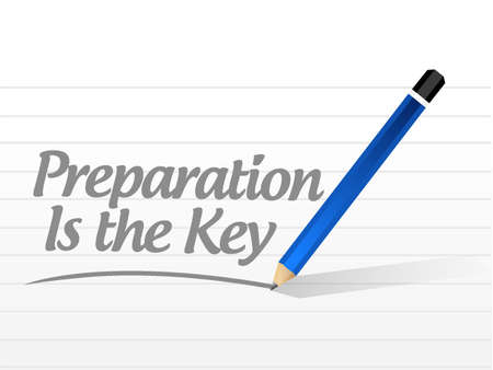 preparation is the key quote sign concept illustration design