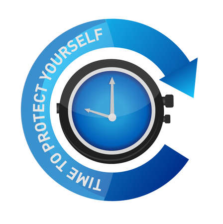 yourself: time to protect yourself concept illustration design graphic over white