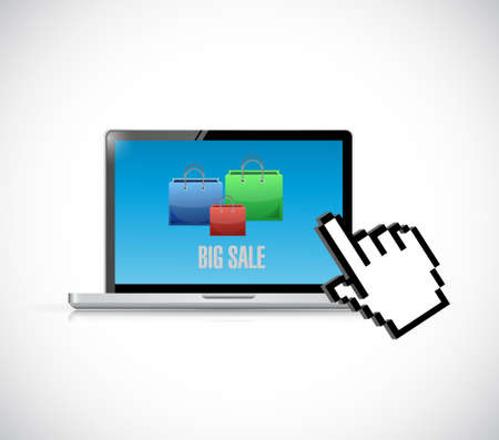 over white: computer Big sale shopping bags icon concept illustration design over white