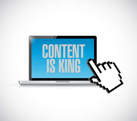 over white: Computer, content is king sign concept and hand cursor illustration design graphic isolated over white Illustration
