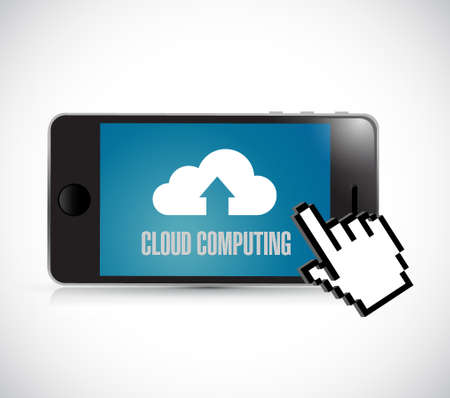 maintain: cloud computing phone and cursor concept illustration design graphic isolated over white Illustration