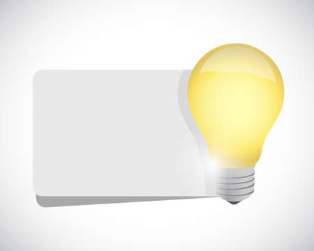 concepts and ideas: light bulb and white banner space illustration design graphic over white