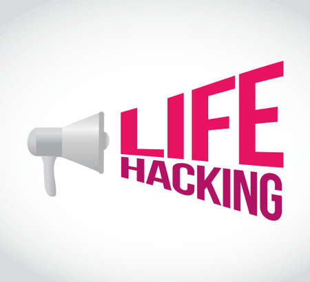 hacking: life hacking loudspeaker message sign illustration design graphic isolated over white