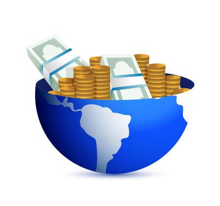 wereldbol met contant geld binnen. wereldwijde winst concept illustratie Stock Illustratie