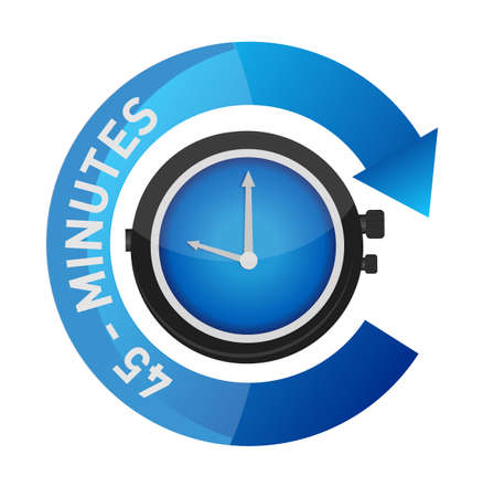 45 minutes alarm watch time concept illustration isolated over white