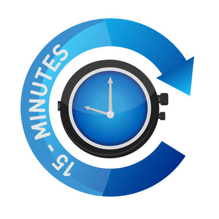 15 minutes alarm watch time concept illustration isolated over white Illustration