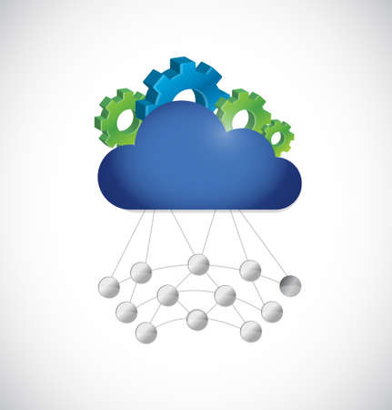 network connections: industrial gear cloud computing storage and network connections concept illustration