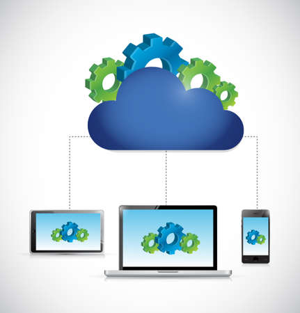 communication industry: industrial business cloud computing storage technology connections concept illustration Illustration