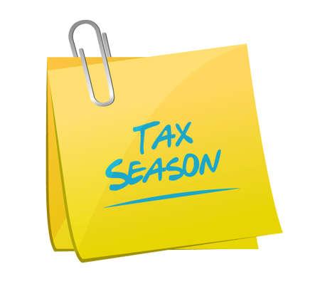season: tax season post memo concept. Illustration design isolated over white