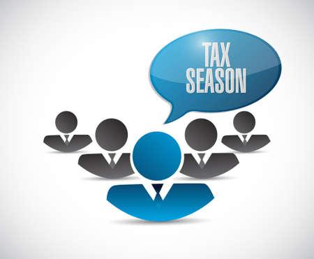 tax season teamwork sign concept. Illustration design isolated over white