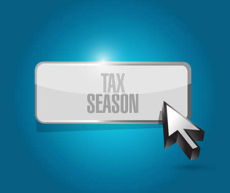 tax season button sign concept. Illustration design isolated over blue