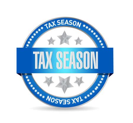 belasting seizoen zegel concept. Illustratieontwerp over wit wordt geïsoleerd dat