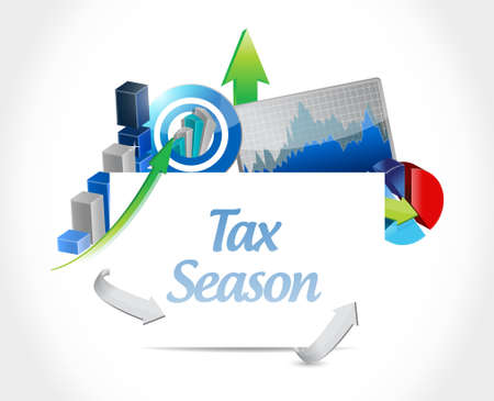 tax season business chart sign concept. Illustration design isolated over white