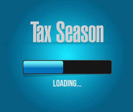 obligation: tax season loading bar sign concept. Illustration design isolated over white Illustration