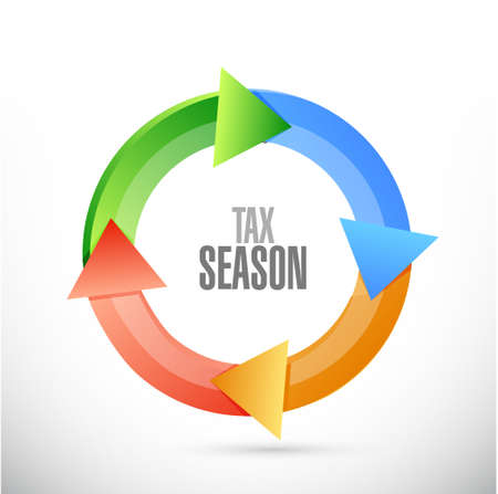 tax season color cycle sign concept. Illustration design isolated over white