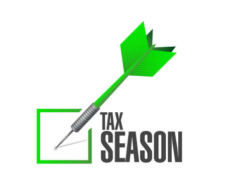 tax season business check dart concept. Illustration design isolated over white