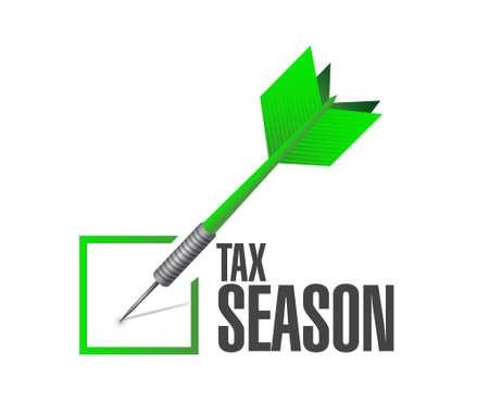 tax season business check dart concept. Illustration design isolated over white