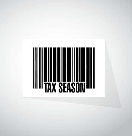 belasting seizoen streepjescode teken concept. Illustratieontwerp over wit wordt geïsoleerd dat
