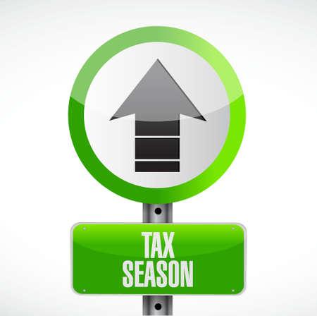 fiscaal seizoen verkeersbord concept. Illustratie ontwerp geïsoleerd over white Stock Illustratie