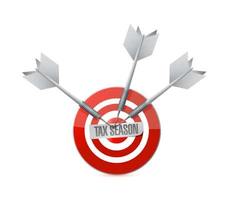tax season target sign concept. Illustration design isolated over white Illustration