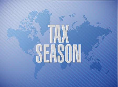 tax season world map sign concept. Illustration design over a blue background