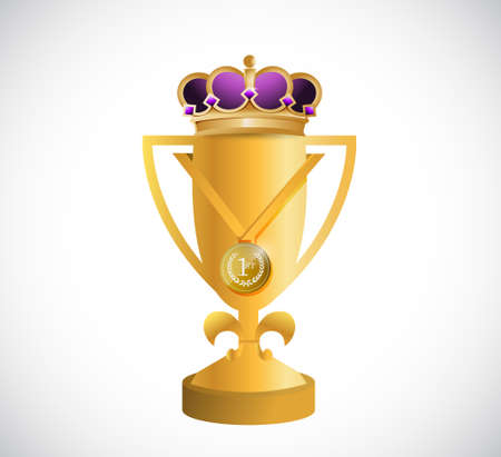 golden trophy and a kings crown illustration design graphic