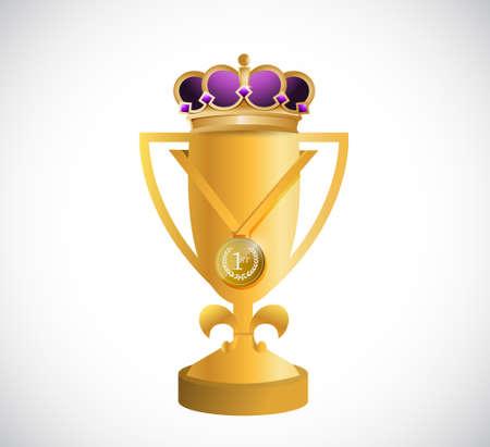 trofeo d'oro e un disegno grafico illustrazione corona di re