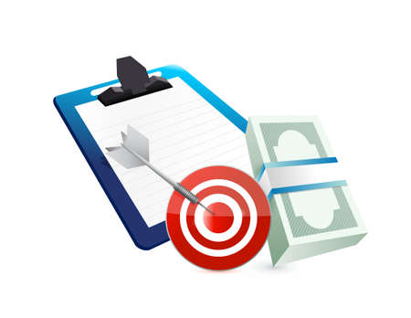 clipboard cash target concept illustration design graphic over white
