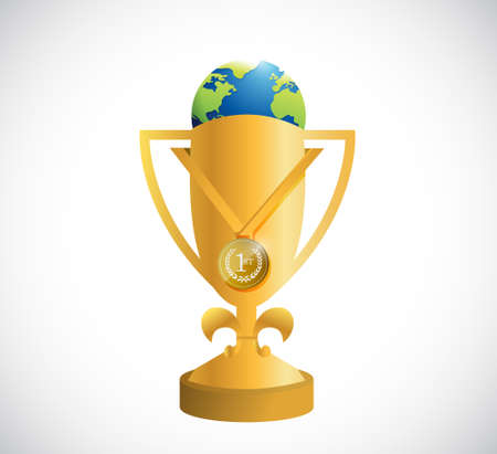 golden trophy and a world globe illustration design graphic