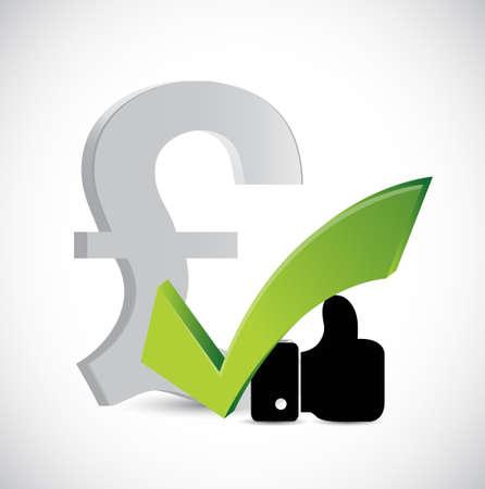 ようなポンド通貨と白で承認サイン コンセプト イラスト デザイン グラフィック  イラスト・ベクター素材