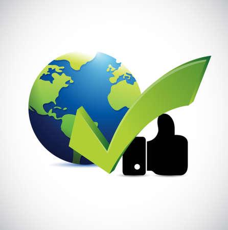 globe, goedkeuring ondertekenen en als hand concept illustratie grafisch over white Stock Illustratie