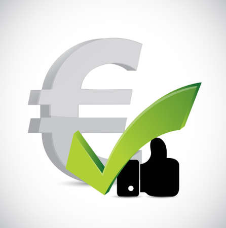 euro currency like and approval sign concept illustration design graphic over white 向量圖像
