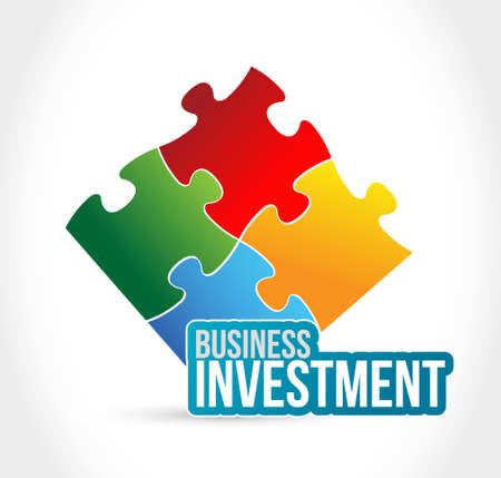 puzzle business: Business investment color puzzle piece illustration design isolated over white Illustration