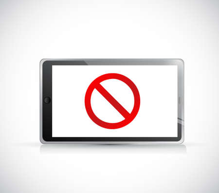 Tablet with a negative sign. Dont. Illustration isolated over white