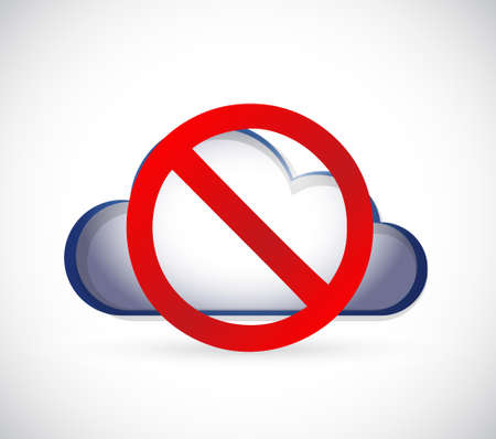 restricted area sign: Cloud Computing with a negative sign. Dont. Illustration isolated over white