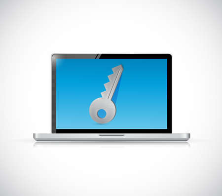 computer key: Computer key of privacy concept illustration isolated over white Illustration