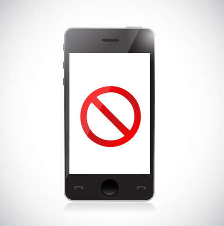 Smartphone with a negative sign. Dont. Illustration isolated over white