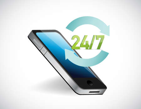 Twenty four seven all day service help phone illustration concept over white.